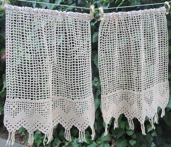 French Crochet Lace Panels Oatmeal Crochet Panels Lace