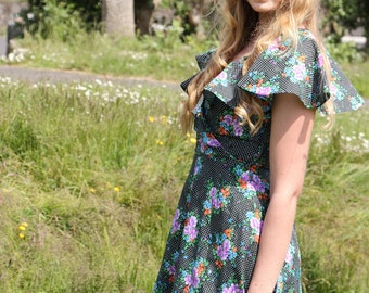 Bethanne, French Vintage, 1970s Floral Bohemian Polka Dot Mini Dress, Butterfly Collar, from Paris