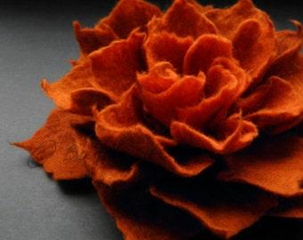 Rust Brown and Red Orange Felt Flower Brooch, Felted Flower Brooch, Rustic Flower, Brown Felt Flower, Textile Flower