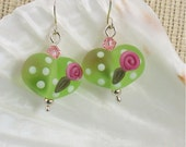 Frosted Apple Green Handmade Lampwork Valentine's Glass Heart Earrings with Pink Roses