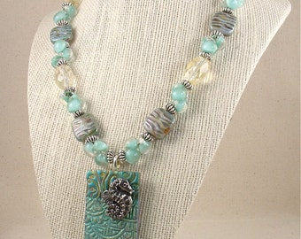 SALE- Blue Green Polymer Clay and Lampwork Glass / Citrine Necklace with Seahorse Pendant
