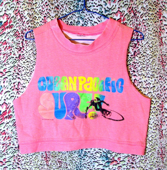 Neon Pink Ocean Pacific Tank Top - Vintage 1980s Cropped Sweatshirt  - Size Small / Medium