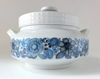 Vintage Mod Casserole Blue Flowers Pontessa Spain