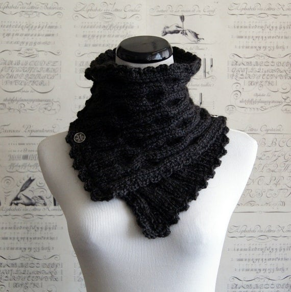 Charcoal Luxe Alpaca blend ripple knit neckwarmer, ready to ship, FREE shipping within USA