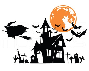 Halloween decals WITCH'S HAUNTED HOUSE surface graphics interior decor by Decals Murals