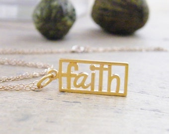 faith neckace word cut out pendant with matte gold finish