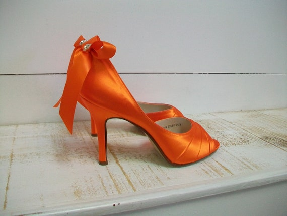 Wedding Shoes - Orange Shoes - Bows On Heels - Orange Wedding - Orange High Heel - Bridal Shoe - Heels - Over 200 Colors - Bride - Parisxox