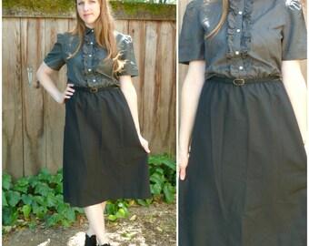 Vintage Black Ruffle Front Dress / Wear to Work Career Dress / Black Polka Dot A Line Dress M L