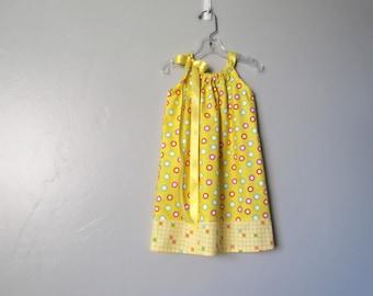 Girls Yellow Sun Dress -   Yellow Dress with Colorful Dots - Sunshine Yellow Pillowcase Dress -  Size 12m, 18m, 2T, 3T, 4T, 5, 6, 8, or 10