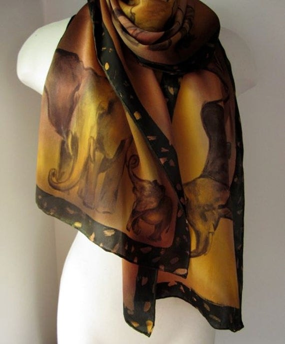 Silk Scarf, Hand Painted  - Elephant Sisters - Ready to Ship - Fall Fashion