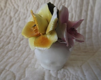 Vintage Chorlez English Bone China Staffordshire Shell Flowers Figurine
