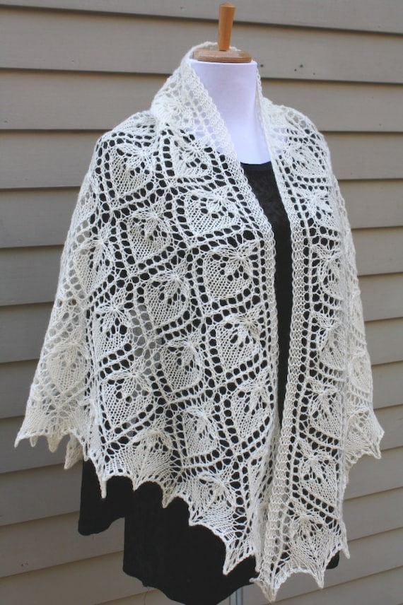 Knitted Shawl Triangular Estonian Lace Water Lily Off