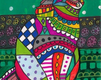 CAT Folk art prints Poster of Painting Modern Abstract (Hg273)