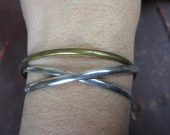 Sterling Silver Bracelet 3 Bangle / Gold Wash Accent Mexican Bracelet/  intertwined Bracelet