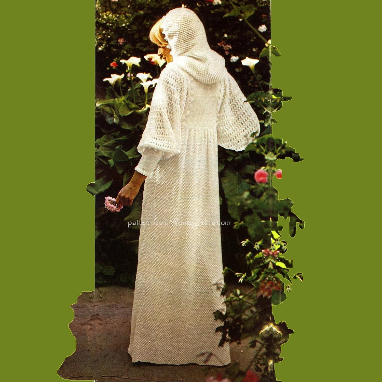 Hooded Wedding Dress PDF Knitting Pattern 307 from WonkyZebra