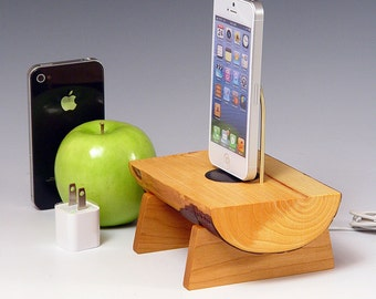 Docking station for ANY iPhone including 6 and 6 plus.. Includes wall charger. 531. Live edge Eucalyptus and Black Cherry.  FAST SHIPPING.