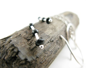 Minimalist tourmaline and silver earrings - Sterling silver chain, delicate, light weight  and handmade