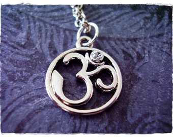 Silver Crystal Om Necklace - Silver Pewter Crystal Om Charm on a Delicate Silver Plated Cable Chain or Charm Only