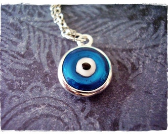Blue Evil Eye Necklace - Blue Enameled Silver Pewter Evil Eye Charm on a Delicate Silver Plated Cable Chain or Charm Only
