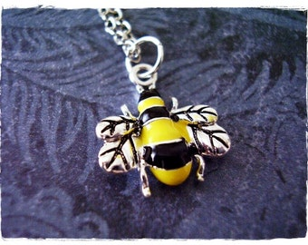 Black and Yellow Bumble Bee Necklace - Enameled Silver Bumble Bee Charm on a Delicate Silver Plated Cable Chain or Charm Only