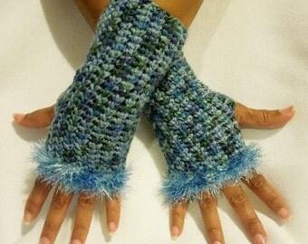 Crochet Fingerless Gloves with Eyelash Trim in Light Blue and Green