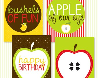 Apple Party PRINTABLE 5x7 Birthday Signs (INSTANT DOWNLOAD) by Love The Day