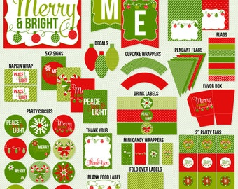 Christmas PRINTABLE Party Merry & Bright Traditional Collection (INSTANT DOWNLOAD) by Love The Day