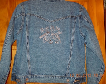 Jeans Jacket-Embroidered with horses- Arizona Jean Co.womens