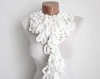 Pom pom Scarf,crochet Long Scarf,Mulberry Scarf,White Pompom