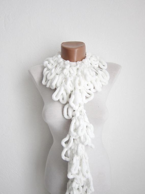 Pom pom Scarf, Crochet Extra Long Scarves, Mulberry Accessories, Cocoon Scarf, White, Pompom, Pon pon, Women Chunky Scarf