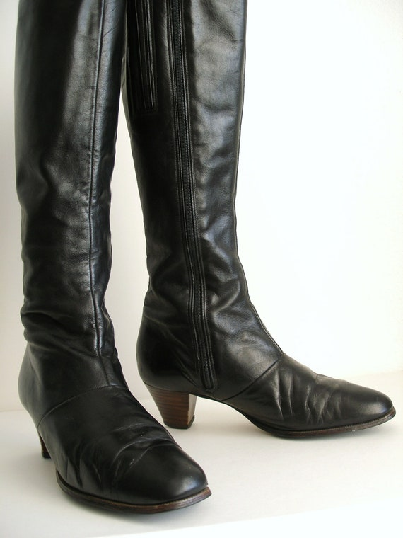 Vintage Black Knee High Boots, Faux Leather, Low Heel, Riding Boots 8.5 - Pirate Boots