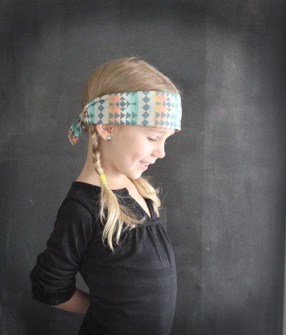 Bandana headband southwest geometric fabric . tribal hair accessories . little girl headband . cowgirl . bandana .