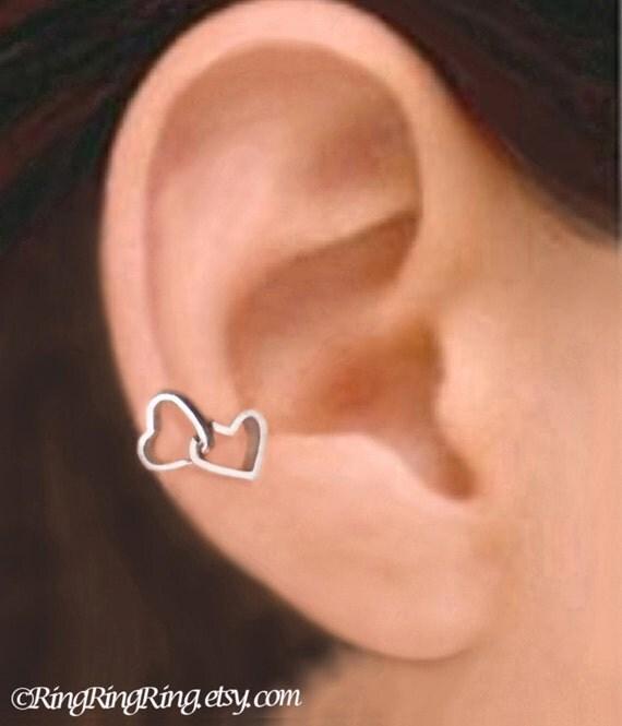 Double heart - Solid Sterling silver ear cuff earring jewelry, non pierced earcuff, Right, clip