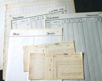 Very large pages of vintage account books. Retro rescued supply for journaling scrapbooking and collages.