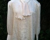 Vintage Ivory Satin Jacquard Secretary Ascot Blouse Long Sleeve Bow Blouse - RESERVED