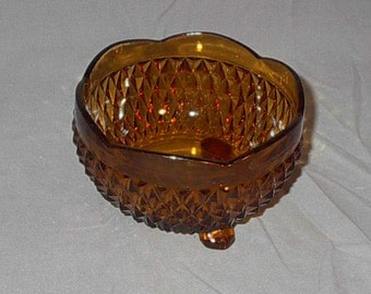 Vintage Pressed Cut Glass Amber Footed Scalloped Candy Dish or Square Ashtray Retro Serving Home Decor Kitchen Dining Entertaining Bar Party