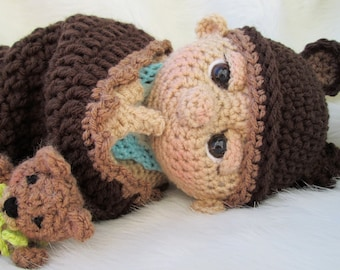 So Cute Baby Doll Crochet Pattern with Teddy Bear Hat, Toy and Cocoon Instant Download, PDF Format