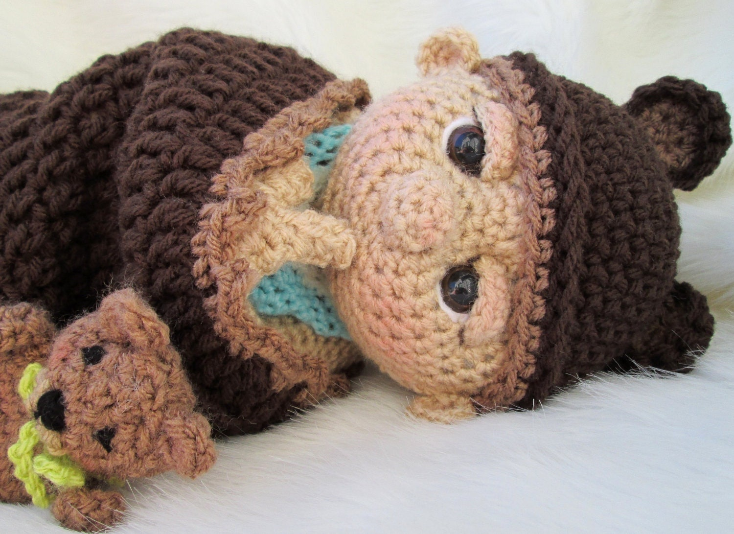 Crochet Pattern Baby Doll : So Cute Baby Doll Crochet Pattern with Teddy Bear Hat Toy and