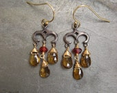 Whiskey quartz and rhodolite small chandelier earrings - gunmetal sterling silver and goldfilled