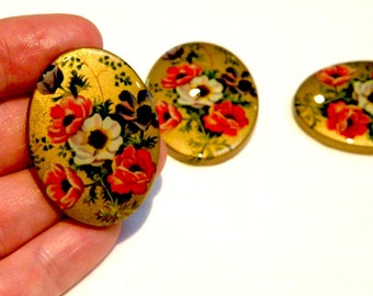Cabochon - 3 Rare Vintage Floral and Mettalic Gold Resin Cabochons (German-made) Holiday Crafts Unique Gift Bohemian Cottage Chic