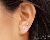 Love Earring, One Cartilage Earring or Pair, Silver, Gold, Titanium, Niobium