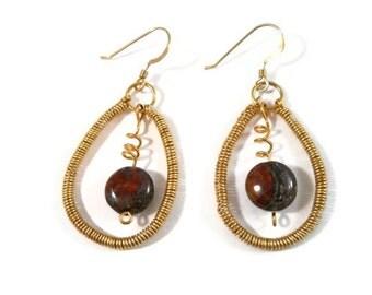 Wire Wrapped Jewelry Boho Stone Earrings Dangle Long Kinetic