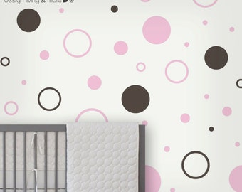 Circle Children wall stickers - baby nursery wall decals - polka dot stickers -0105