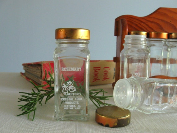 1950's Griffith's Spice Jars ... set of 8 with wooden rack