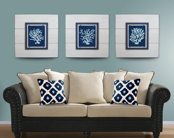 SALE***Coral Wall Art Set of 3 White Framed 8x10 xtra large 21X21