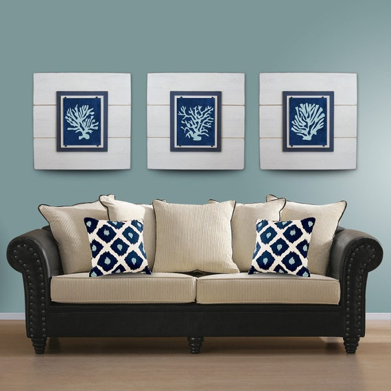 Wall Art Set Of 3 salecoral wall art set of 3 white framed 8x10 xtra large