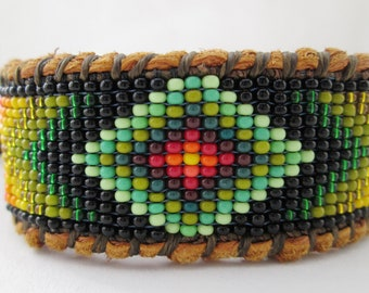 Huichol Style Inspired  Diamond Eye Beaded Bracelet on Deer Hide
