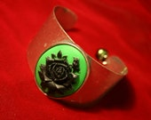 A Little Envy Goes a Long Way Black and Green Rose Cuff
