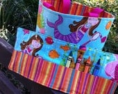 Girls Mermaid Tote and Crayon Roll