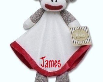 PERSONALIZED Infant Baby Security Snuggly Blankie Boy Sock Monkey